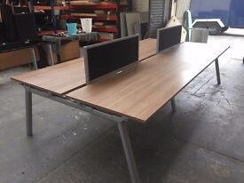 4 X PERSON OFFICE BENCH DESK SET, CALL CENTRE, CLUSTER, DIVIDERS, STATION etc