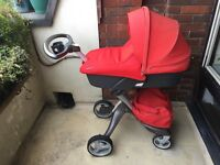 Stokke Xplory pram/stroller, includes carry cot, toddler seat, and car seat