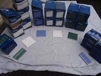PILKINGTON CERAMIC WALL TILES. 100MM SQUARE: WHITE, BLUE, GREEN.DADO STRIPS 100MM.NEW.
