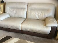Leather reclining sofa, exc. condition
