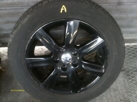 """VW POLO 6R Mk8 2010-2014 15"""" 7 SPOKE BLACK ALLOY WHEEL AND TYRE 6R0 601 025 L"""