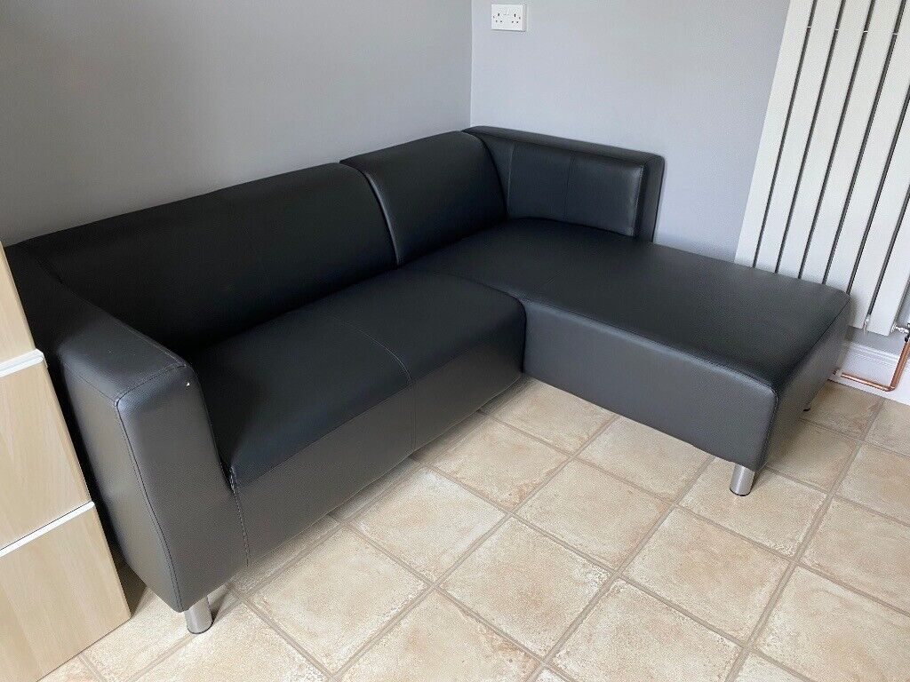 Picture of: Argos Black Faux Leather Corner Sofa Only 4 Months Old In Ipswich Suffolk Gumtree