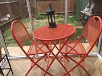 Hardly used Patio/Garden Table and Two Chairs