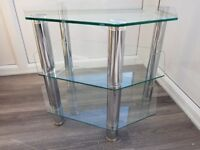 Small Glass and chrome TV stand/table.