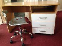 Desk & Chair from John Lewis. Birch finsh, Good quality