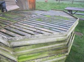 GARDEN LARGE WOODEN BENCH (TOP-CAN SIT ON TRESSLES/CRATES/BLOCKS ETC) LARGE. OCTAGONAL - IN PAIRS.