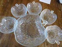 Leaf shape large fruit bowl with 5 smaller dishes