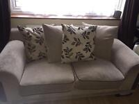 Sofa suite, 3 seater, 2 seater and arm chair with footstool.
