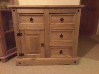 Rustic Pine 4 drawer, one door cupboard