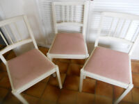 Three Painted Kitchen or Dining Chairs - £30 for the 3, or could split them