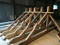 Four antique reclaimed roof trusses C. 1850. 17ft wide. (Facility on site to help you load).