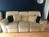 PENDING COLLECTION. FREE 3 &2 Cream Leather Recliner Suite/Sofa