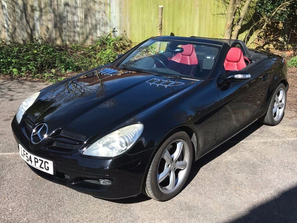 Mercedes benz slk 350 2004 black red leather interior