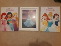 3 x Disney Princess wall pictures - Free if giving to your Princess!