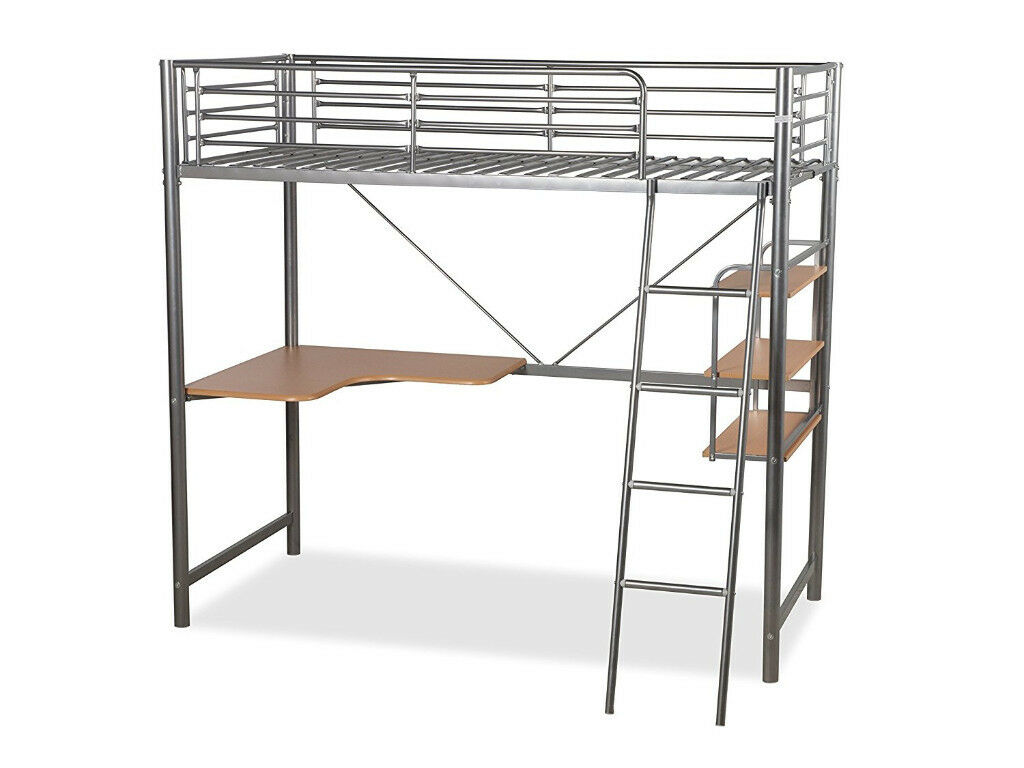 Metal High Sleeper Single Bed With Desk Free Delivery