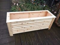 Garden Trough Planter on feet - Hand made from wood - 180cm long x 42cm wide x 46cm tall