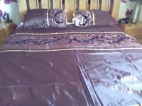Brown double duvet set & matching eyelet curtains 66 inches wide x 59 inches drop
