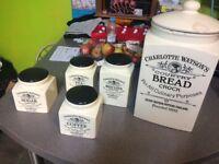 TEA COFFEE SUGAR BREAD CONTAINERS/CROCKERY/JARS VINTAGE STYLE