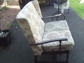 Vintage small 2 seater settee with mahogany frame
