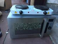 Portable hob and microwave combination oven