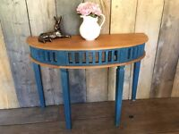 Vintage Upcycled Half Moon Demi Lune Side Lamp Hall Telephone Painted Occasional Table