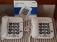 BT Big Button 100 corded telephones - a pair - plus instruction booklet