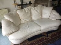 Two White Sofas, worn but still comfy