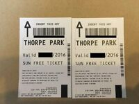 *SUNDAY* 2x Tickets to THORPE PARK for 28th Aug 2016 (28/08/2016) SUMMER HOLIDAYS (ACTUAL TICKETS)