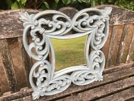 Hand Painted Shabby Chic Small Decorative Mirror in Duck Egg Blue