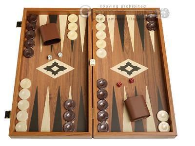 - 19-inch Wood Backgammon Set - Walnut with Printed Field | Classic Board Game