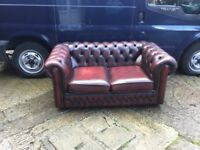 SAXON LEATHER CHESTERFIELD 2 SEATER SOFA IMMACULATE CONDITION IN OXBLOOD RED FULL HIDE LEATHER £499