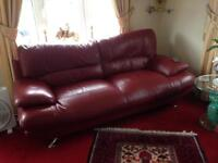 Sofas + footstool leather for sale