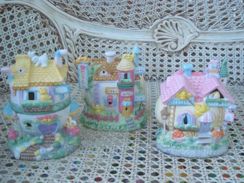 SET OF 3 WHIMSICAL EASTER EGG VILLAGE HOUSES ***ADORABLE***