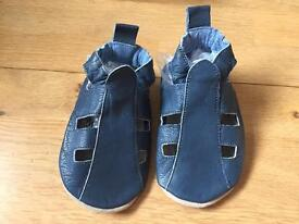 Brand new soft navy leather baby booties