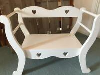 Children's Bedroom Bench / Chair / Seat in White - Love Hearts
