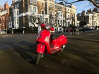 Red Vespa GTS 125 Supersport for sale, full service history and valid MOT