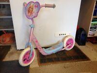 Little girls pink Barbie scooter