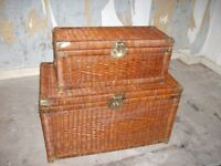 VINTAGE WICKER STORAGE CHESTS WITH BRASS FITTINGS