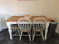 Dinner table shabby chic with 4 chairs