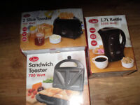 Brand New Kettle , 2 Slice Toaster , Sandwich Toaster All in Black