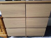 2 x ikea malm 3 drawer bedside tables