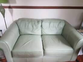 2x 2 seater sofa and 2x storage pouffes