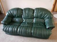 3+1 piece green leather sofa