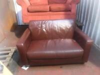 2 Seater Brown Leatherette Box Shape Sofa