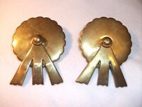 Pair of Victorian Brass Horse Harness Rossette Swivels. Probably from 1870's.