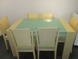 Modern Maple and pale green glass insert table and six matching chairs , table 138cm x 85cm