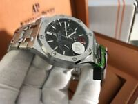 New Swiss Audemars Piguet Royal Oak STAINLESS STEEL Black Dial Automatic Watch, See Through back