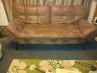 Faux leather brown sofa bed