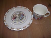 Royal Doulton Bunnykins Christening plate and bunnykins celebration 1 year old cup