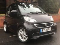 2013 Black Smart Car ForTwo Passion MHD Auto 71 Zero Tax SatNav Bluetooth FSH Automatic Pan Roof